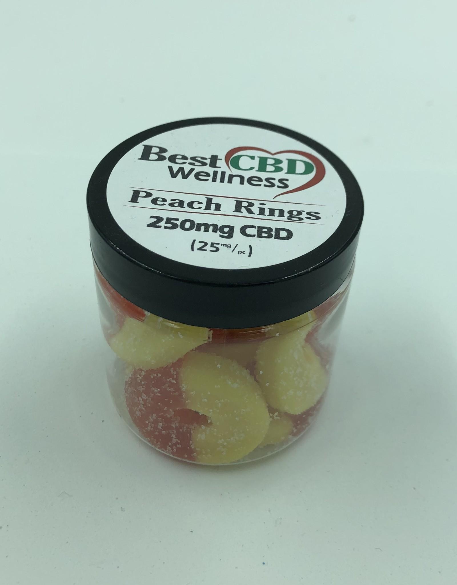 Best CBD Wellness Isolate CBD Peach Rings 250mg  10 pc/25mg ea