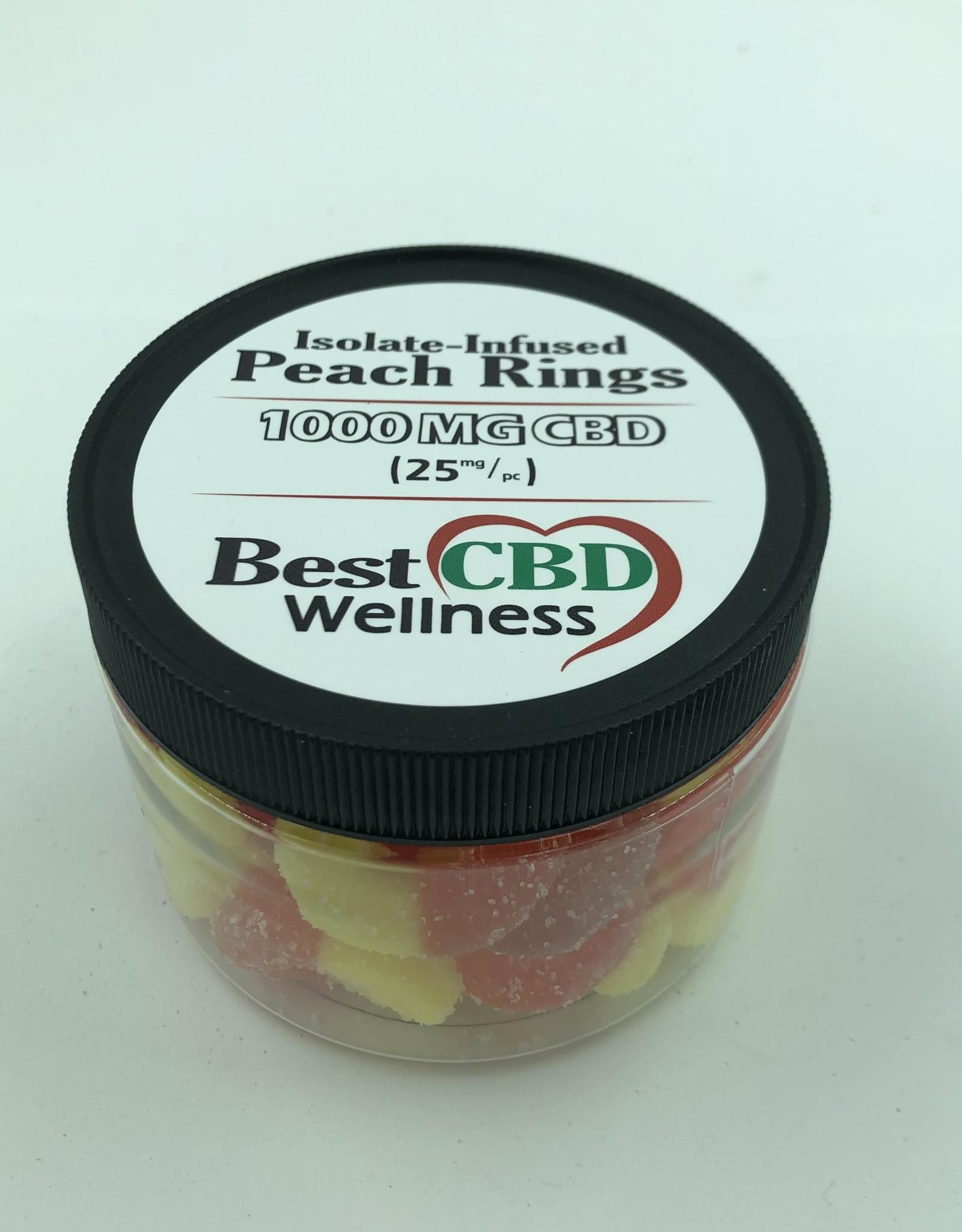 Best CBD Wellness Isolate CBD Peach Rings 1000mg 40 pc/25mg ea