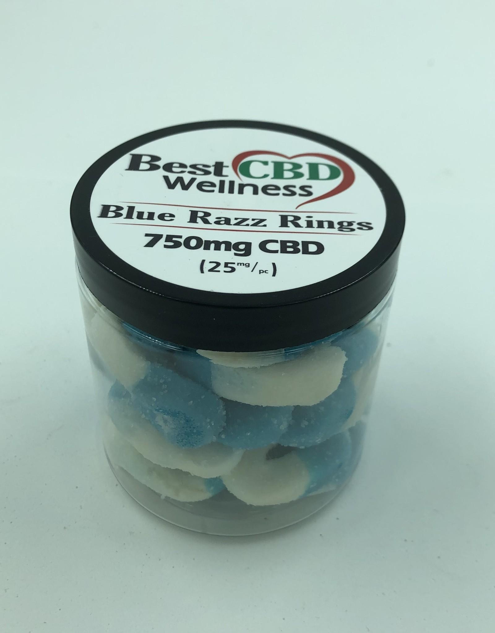 Best CBD Wellness Isolate CBD Blue Razz Rings 750mg 30 pc/25mg ea