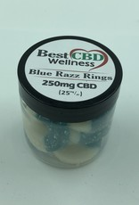 Best CBD Wellness Isolate CBD Blue Razz Rings 250mg 10 pc/25mg ea