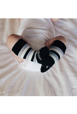Lamington Kids Arthur Knee High Sock Black/Light Grey Marle/Natural Stripe 1-2Y