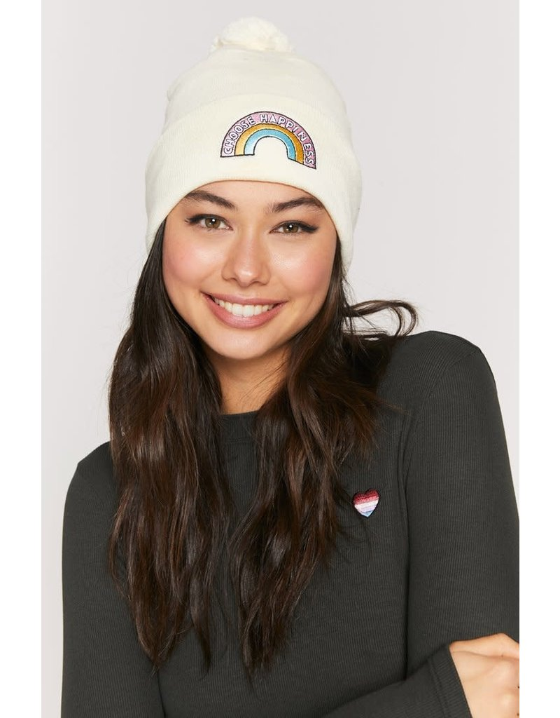 Spiritual Gangster Choose Happiness Pom Pom Beanie