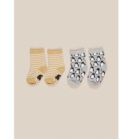 HuxBaby Stripe/Penguin Socks 2pk