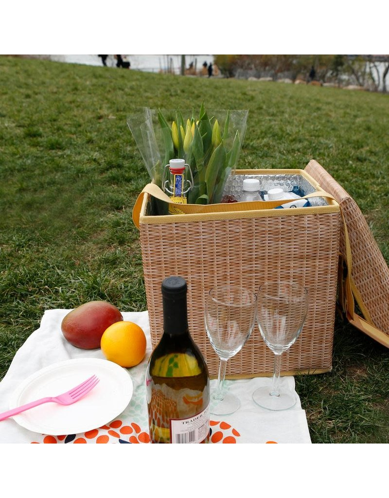 Kikkerland Designs Wicker Picnic Cooler Seat