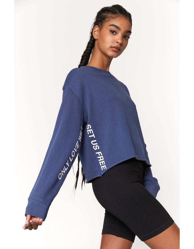 Spiritual Gangster Love Will Set Us Free Mazzy Crop Sweatshirt