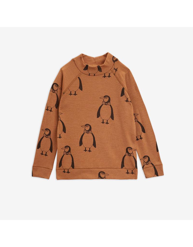 MiniRodini Penguin Wool Long Sleeve T-Shirt