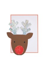 Meri Meri Sequin Nose Reindeer Card