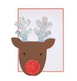 Meri Meri Sequin Nose Reindeer Card