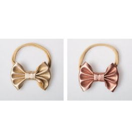 Lox Lion Duo of Small Metallic Bow Nylon Headbands