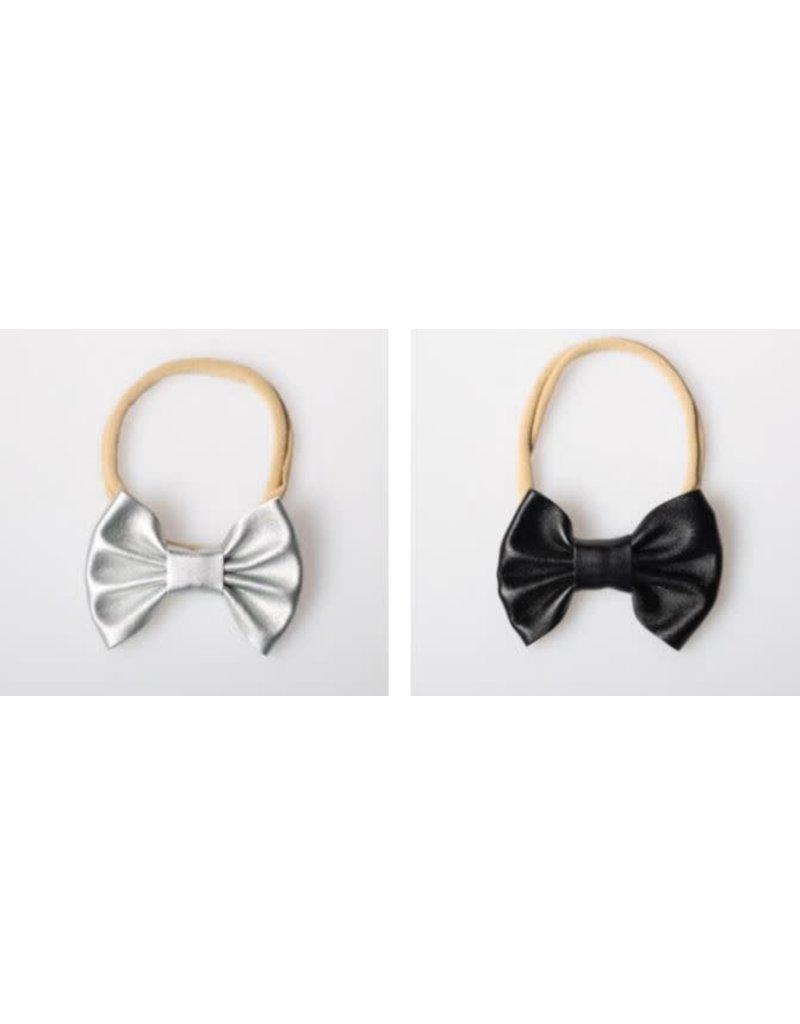 Lox Lion Duo of Small Metallic Bow Nylon Headbands