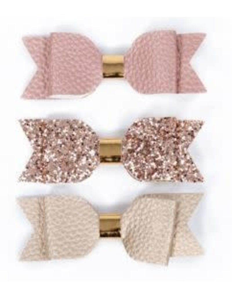 Lox Lion Trio of Big Faux Leather Bow Hair Clips