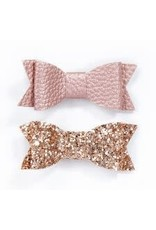 Lox Lion Duo Small Faux Leather Hair Bow Clips