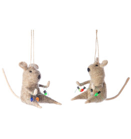 Silver Tree Felt Mice with String Lights Ornament