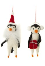 Silver Tree Felt Penguin Ornament
