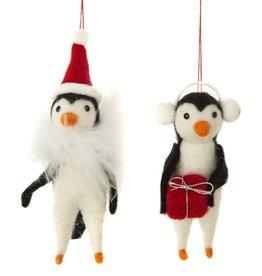 Silver Tree Felt Penguin Ornament