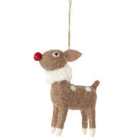 Silver Tree Felt Cartoon Reindeer Ornament