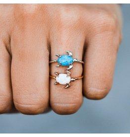 Pura Vida Bracelets Opal Sea Turtle Ring