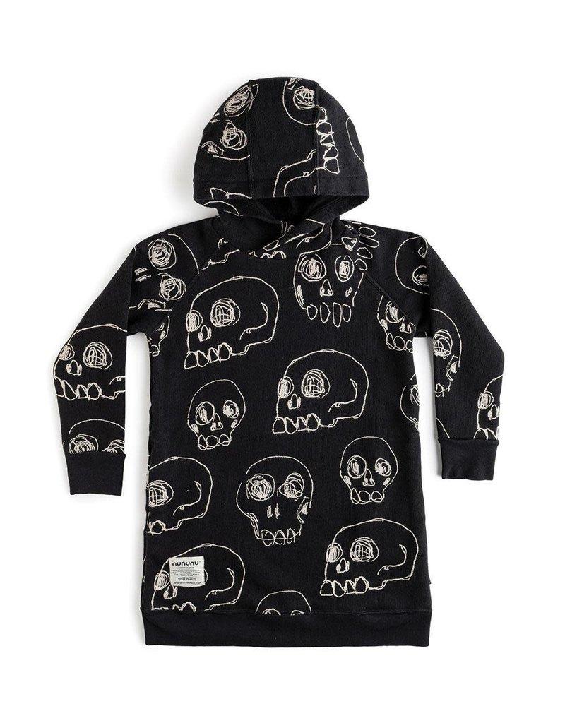 nununu Hooded Scribbled Skulls Dress