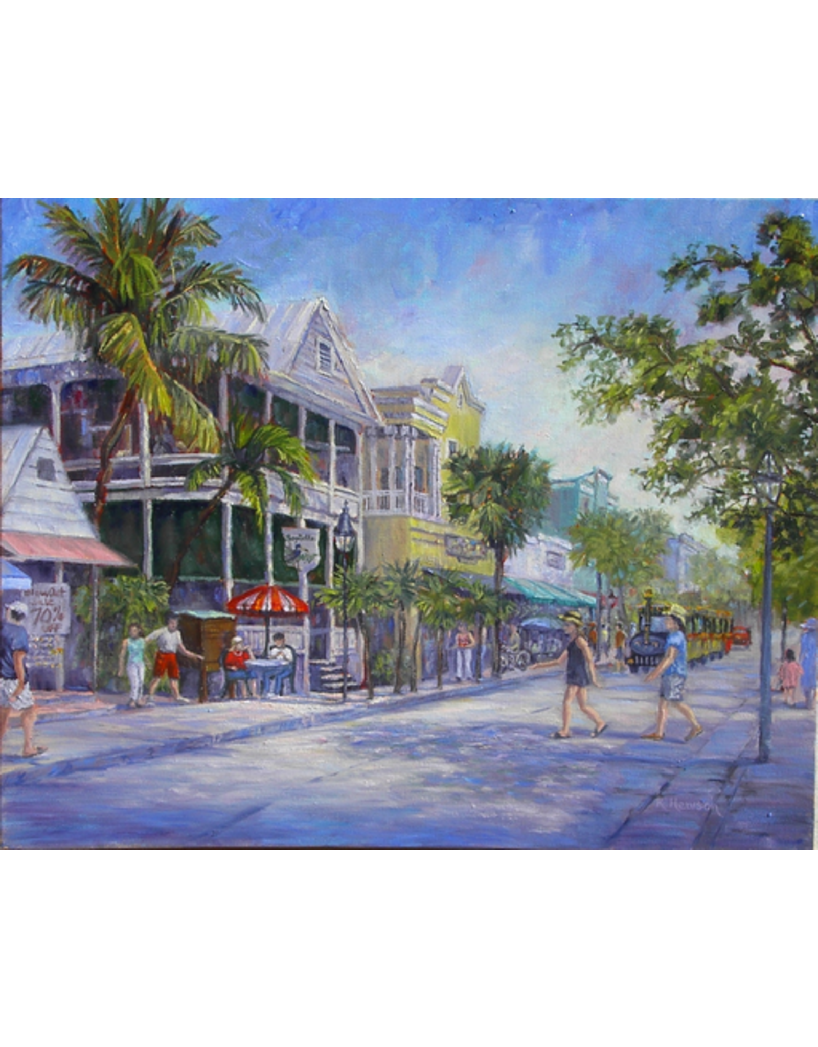 Ruthann Hewson Duval St., Key West (Print, Matted,11x14, RUTH)