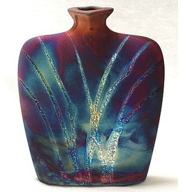 Raku Art Vase (Flask, #165)