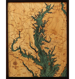WoodCharts Chesapeake Bay (Bathymetric 3-D Wood Carved Nautical Chart)