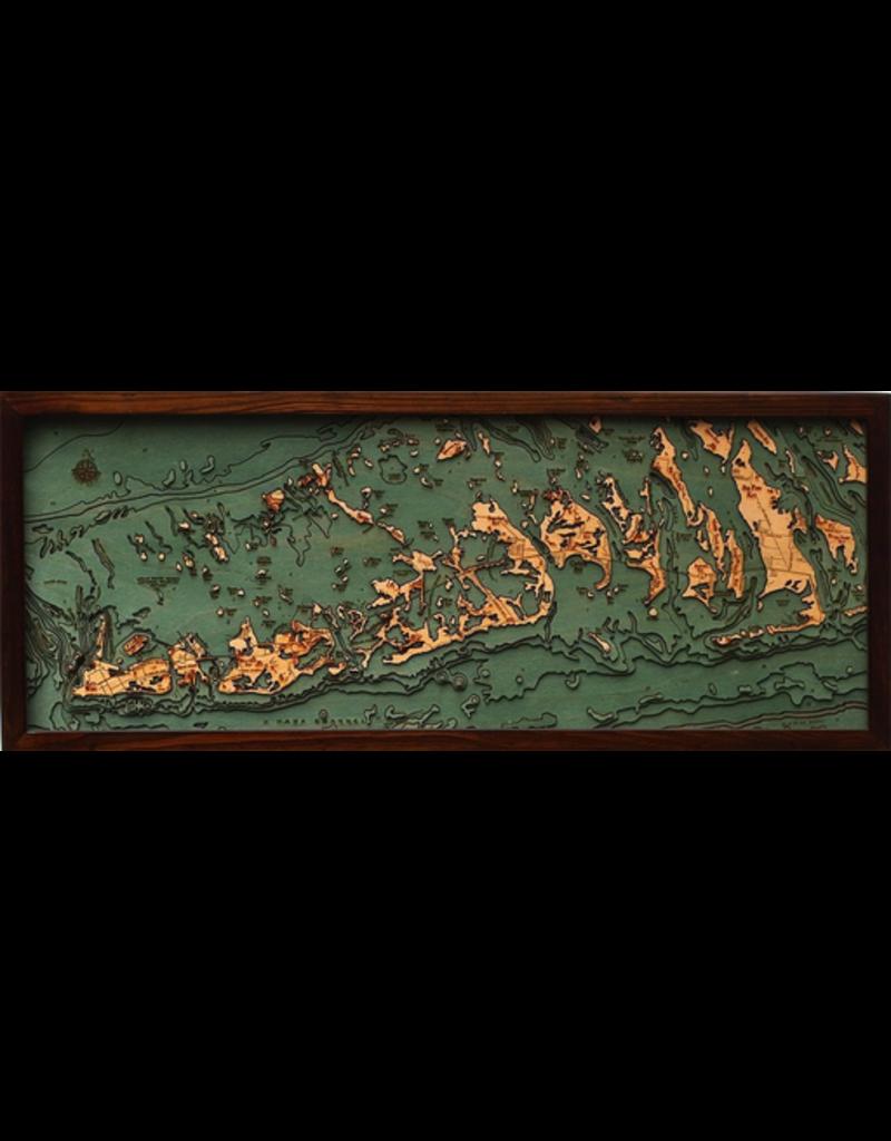 WoodCharts Lower Florida Keys (Bathymetric 3-D Wood Carved Nautical Chart)