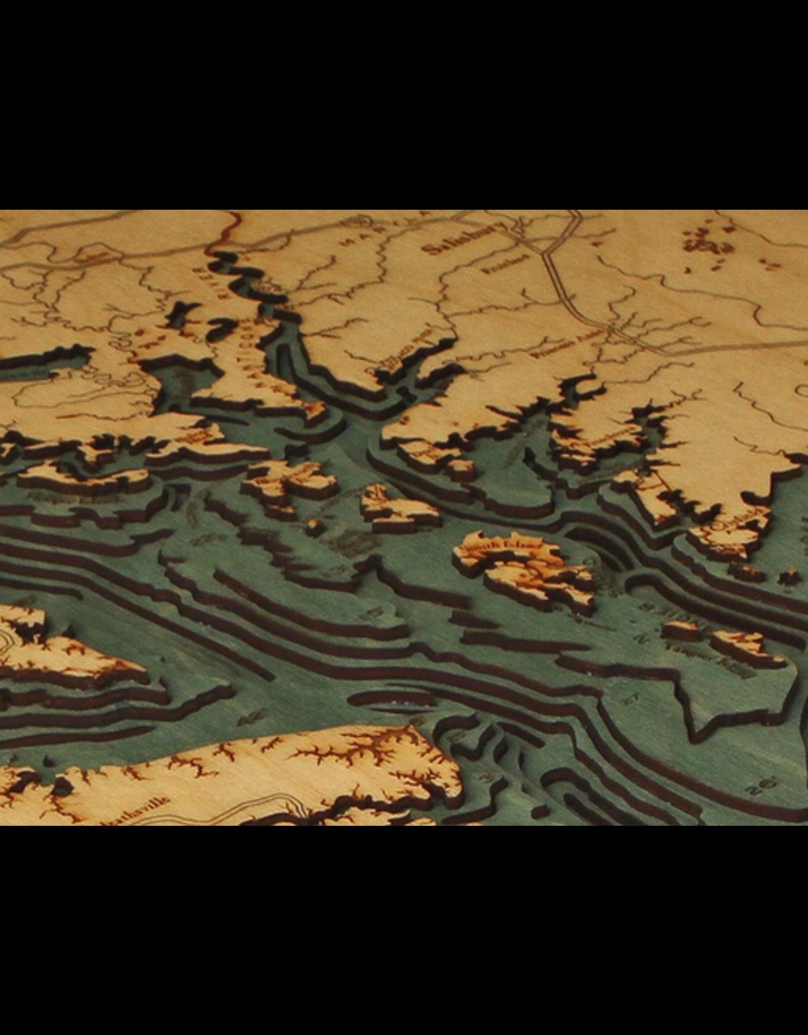 WoodCharts Chesapeake Bay (Bathymetric 3-D Wood Carved Nautical Chart)