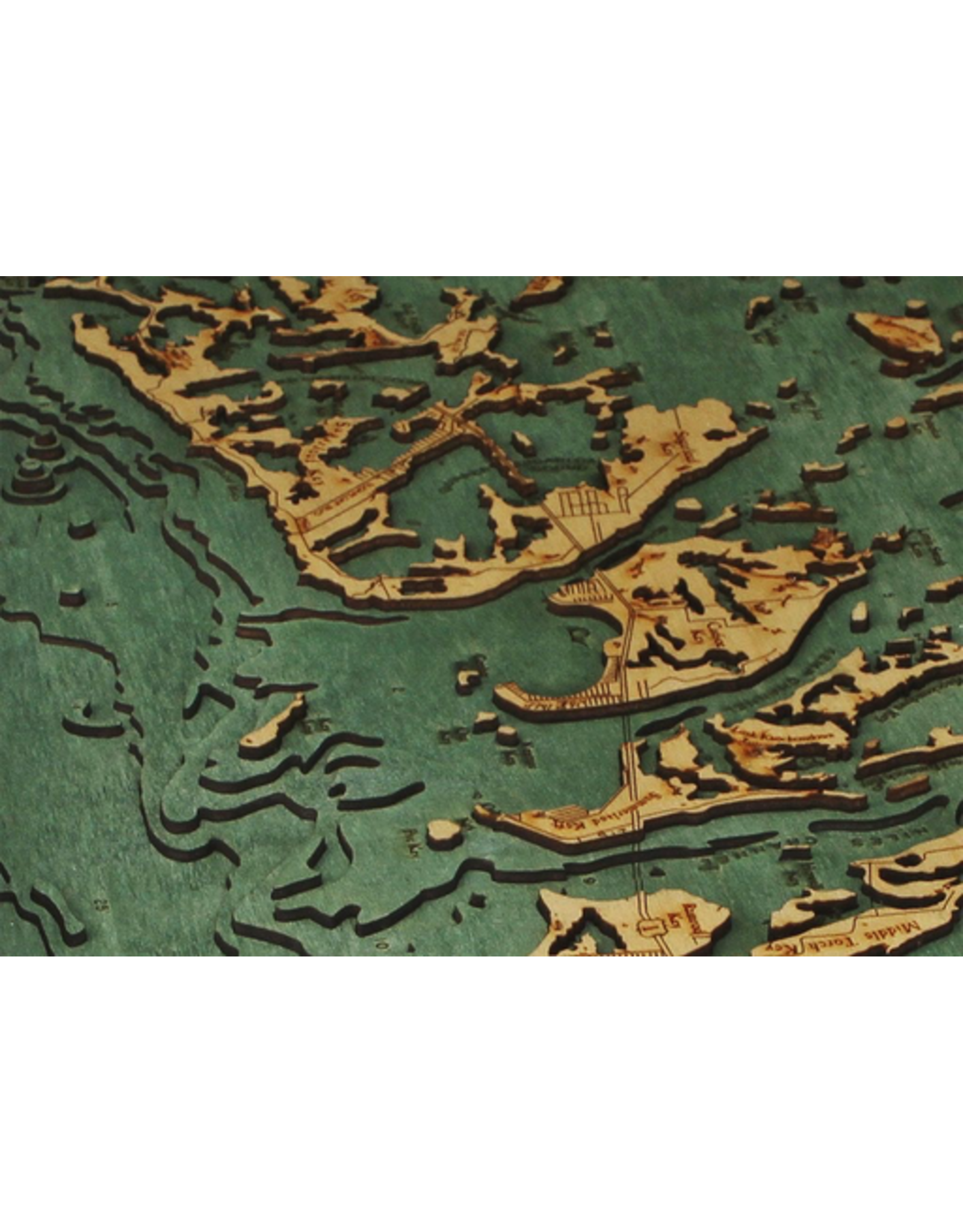 WoodCharts Lower Florida Keys (Bathymetric 3-D Wood Carved Nautical Chart)