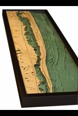 WoodCharts Jupiter island (Bathymetric 3-D Wood Carved Nautical Chart)