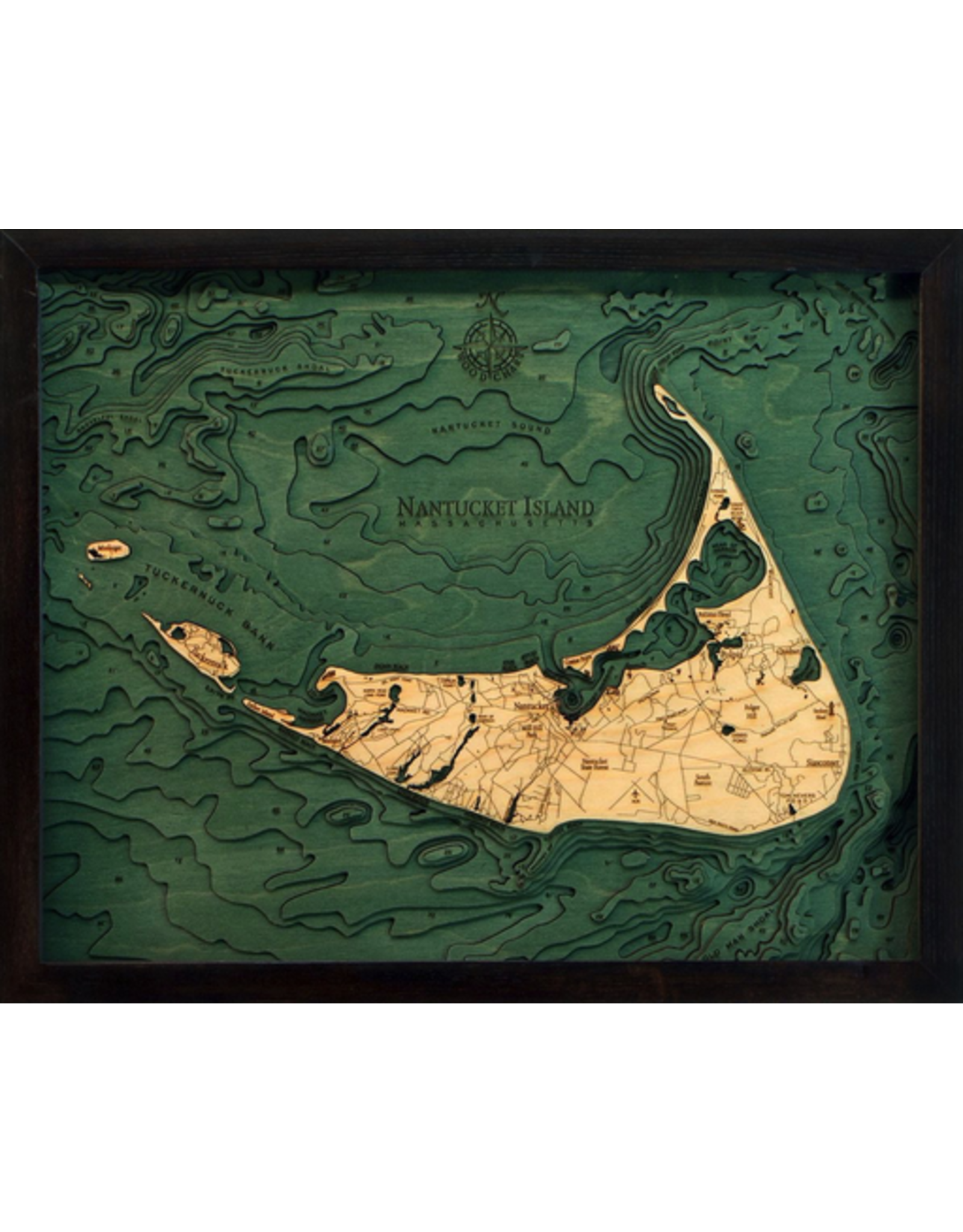 WoodCharts Nantucket (Bathymetric 3-D Nautical WOODCHART)