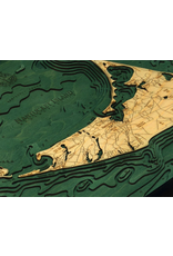 WoodCharts Nantucket (Bathymetric 3-D Wood Carved Nautical Chart)