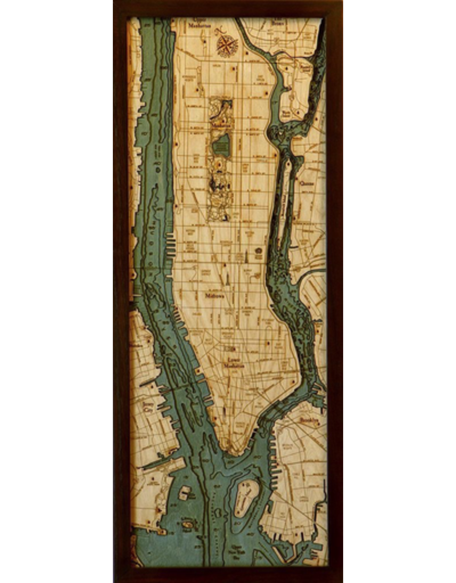 WoodCharts Manhattan (Bathymetric 3-D Wood Carved Nautical Chart)