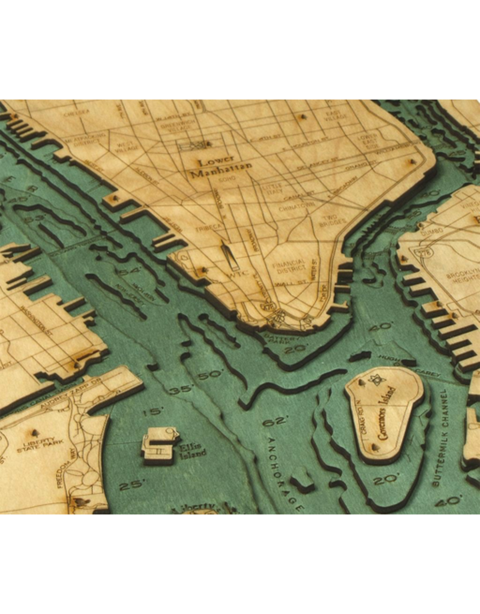 WoodCharts Manhattan (Bathymetric 3-D Nautical WOODCHART)