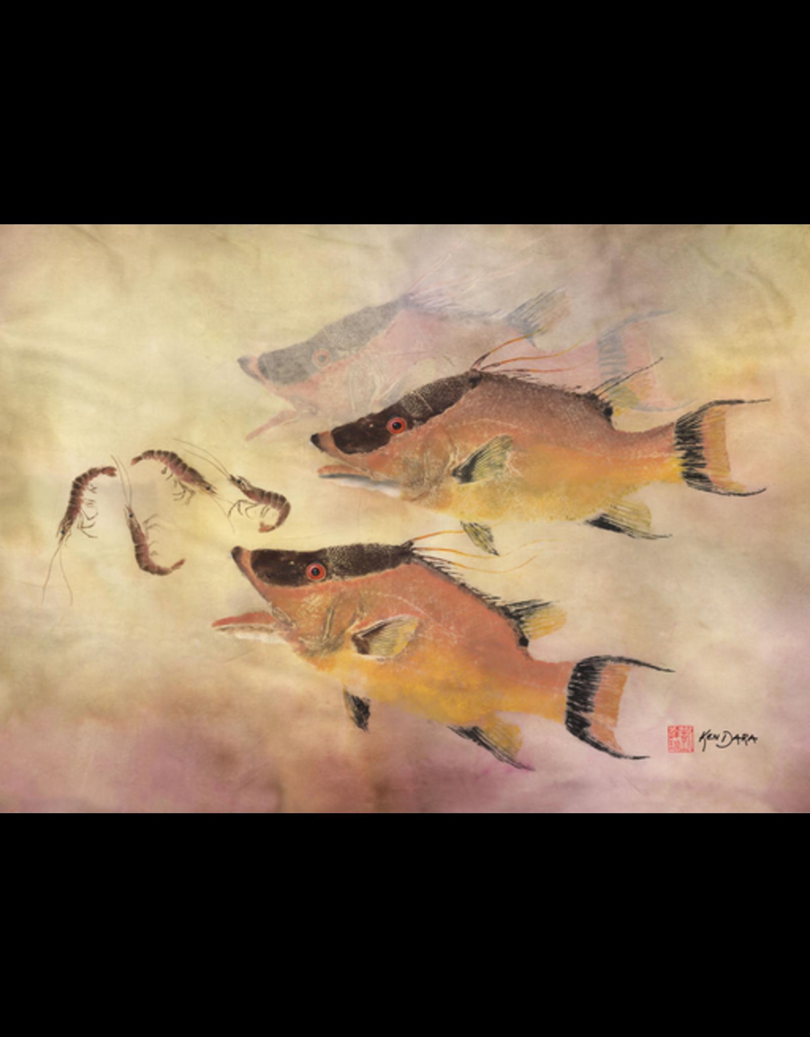 Ken Dara HOG SNAPPER (Gyotaku Giclee, 20x30, Mat, Frame, Signed, KEND)