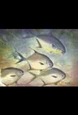Ken Dara POMPANO (Gyotaku Giclee on Watercolor Paper, 22x24, Framed, Signed)