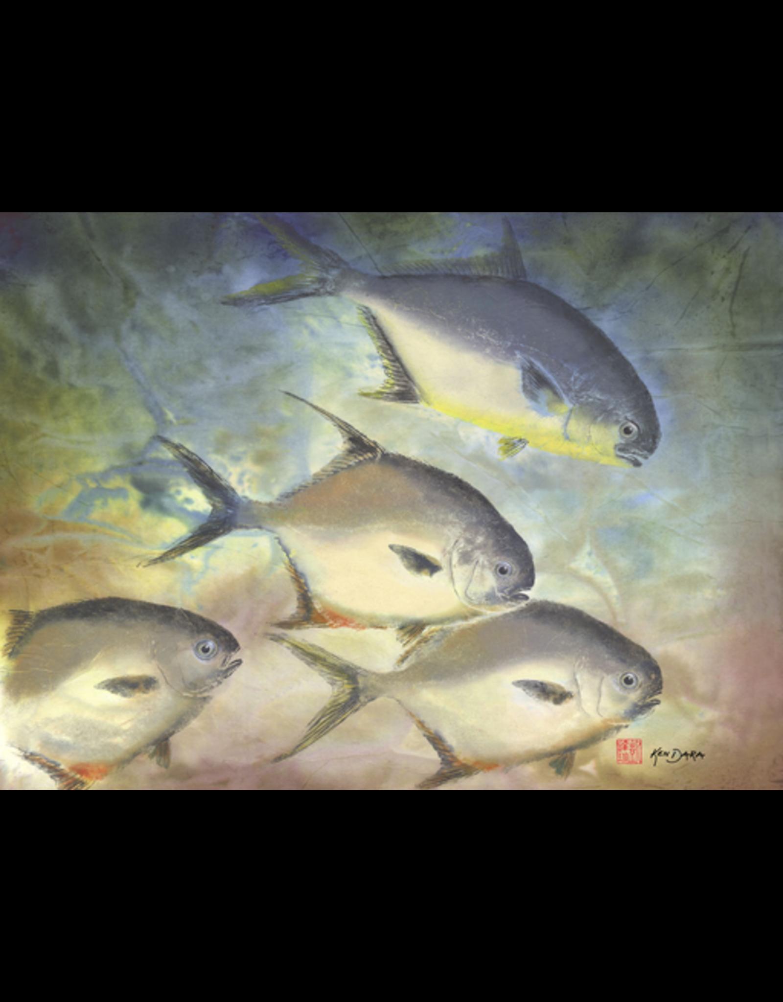 Ken Dara POMPANO (Gyotaku Giclee on Watercolor Paper, 22x24, Framed, Signed, KEND)