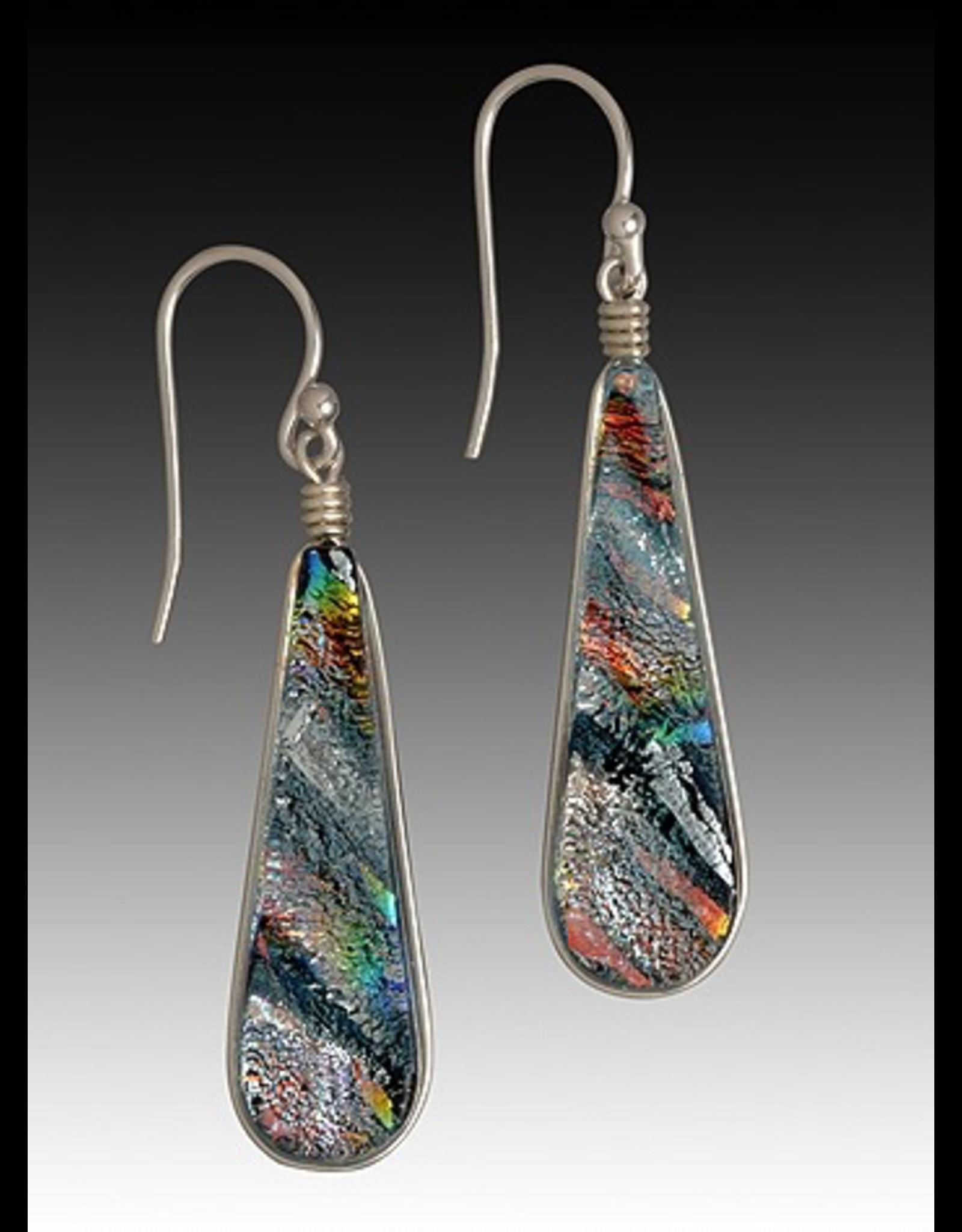 Renaissance Glass TEARDROP EARRINGS (Lg, Dichroic Art Glass, Assorted Colors, #225)