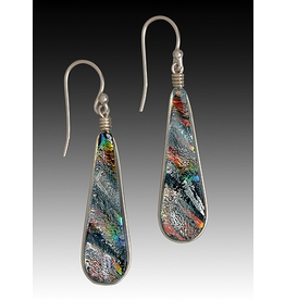 Renaissance Glass TEARDROP EARRINGS (Lg, Dichroic Art Glass, Assorted Colors, #225)