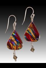 Renaissance Glass LOTUS EARRINGS (w/Crystal, Dichroic Art Glass, Assorted Colors, #280, FRAT)
