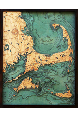 WoodCharts Cape Cod (Lg, Bathymetric 3-D Wood Carved Nautical Chart)
