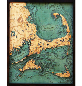 WoodCharts Cape Cod (Lg, Bathymetric 3-D Wood Carved Nautical Chart)