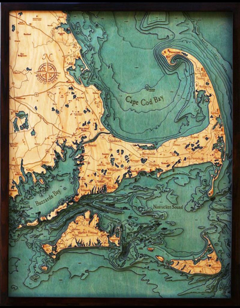 Cape Cod Lg Bathymetric 3 D Wood Carved Nautical Chart Rare