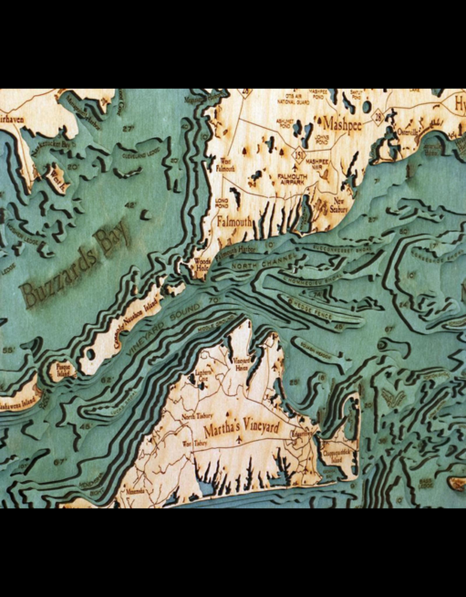 WoodCharts Cape Cod (Lg,  Bathymetric 3-D Nautical WOODCHART)