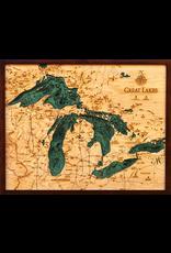 WoodCharts Great Lakes (Sm, Bathymetric 3-D Nautical WOODCHART)