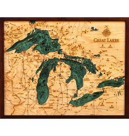 WoodCharts Great Lakes (Sm, Bathymetric 3-D Wood Carved Nautical Chart)