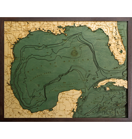 WoodCharts Gulf of Mexico (Bathymetric 3-D Wood Carved Nautical Chart)