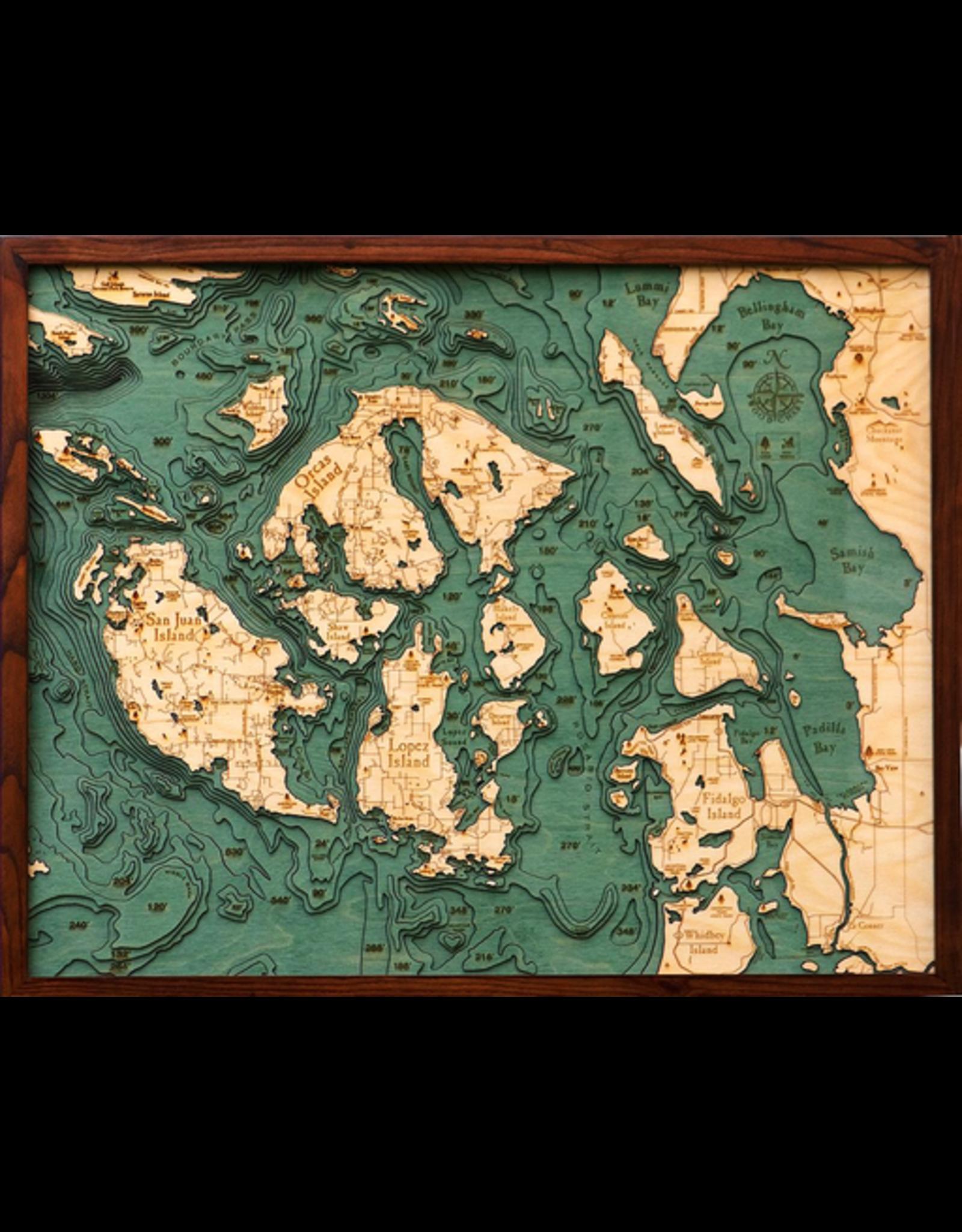 WoodCharts San Juan Islands (Bathymetric 3-D Wood Carved Nautical Chart)
