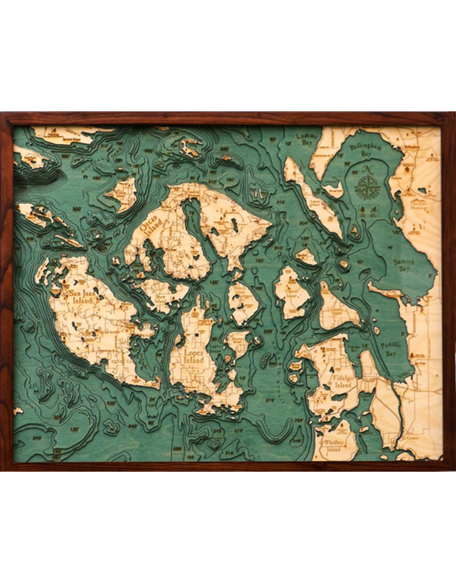 WoodCharts San Juan Islands, WA (Bathymetric 3-D Nautical WOODCHART)