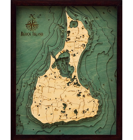 WoodCharts Block Island (Bathymetric 3-D Wood Carved Nautical Chart)