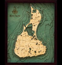 WoodCharts Block Island, RI (Bathymetric 3-D Nautical WOODCHART)